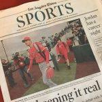 LA Times紙:キャンプ初日の大谷の詳報をトップで伝える