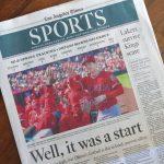 LA Times紙:「今日はまあ、初日。次はバッティングショーだ」