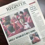 OC Register紙:ついに本紙1面トップに大谷を持ってきた!